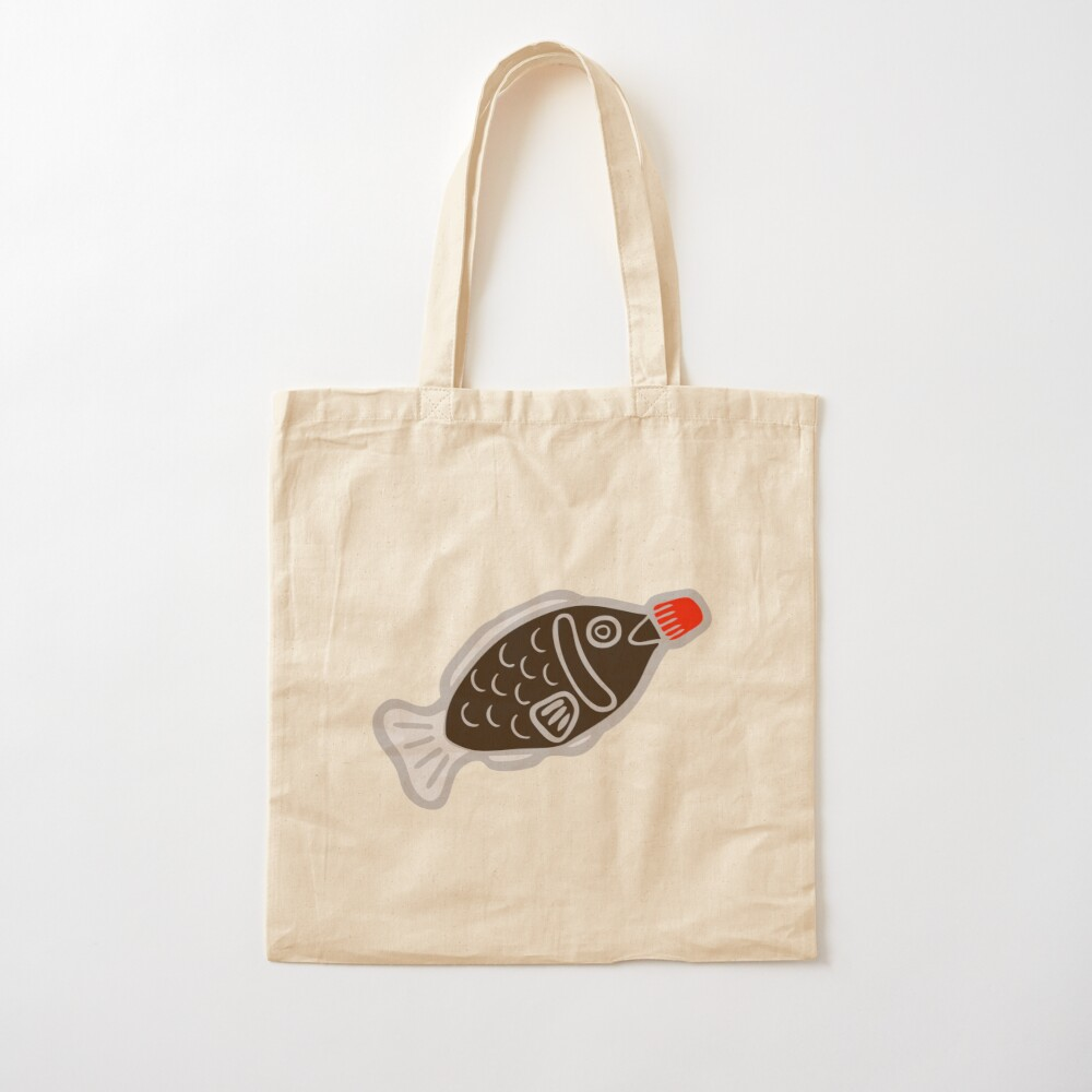 Sushi Soy Fish Pattern in Blue Cotton Tote Bag