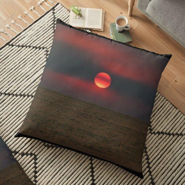 Fire Sunrise - Red Hot Sun Floor Pillow