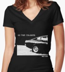 Valiant Charger Australian Muscle Car rear view  GO THE CHARGER white Women's Fitted V-Neck T-Shirt