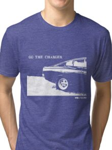 Valiant Charger Australian Muscle Car rear view  GO THE CHARGER white Tri-blend T-Shirt