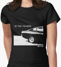 Valiant Charger Australian Muscle Car rear view  GO THE CHARGER white Womens Fitted T-Shirt