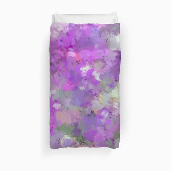 Garden Flowers in Shades of Pink and Green Abstract Artwork Duvet Cover