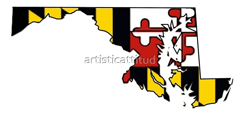 Maryland flag state outline by artisticattitud