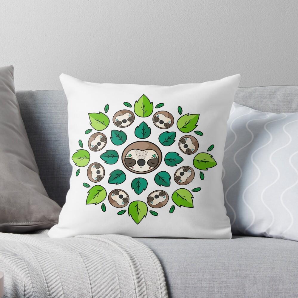 Mandala Sloth Throw Pillow