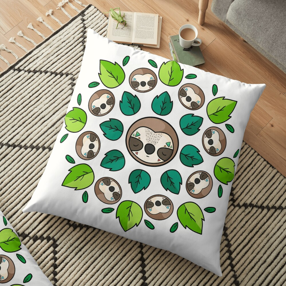 Mandala Sloth Floor Pillow