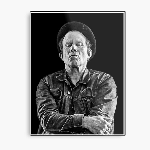 Tom Waits, B/W Metal Print