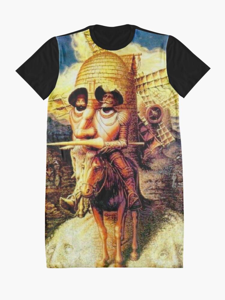 Alternate view of DON QUIXOTE : Vintage Abstract Dali Tilting at Windmills Print Graphic T-Shirt Dress