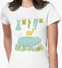 Humphrey the Hippo and the Cameroon Mountain Goat Womens Fitted T-Shirt