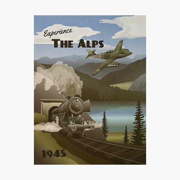 The Alps 1945 - Mountain Vista Travel Poster Photographic Print