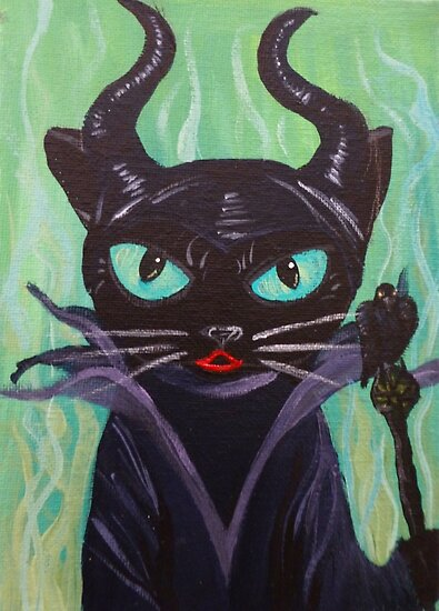 Maleficent Witch Raven Black Cat Villain Poster By Muertocupcake