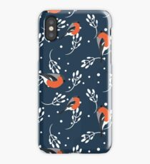 Bullfinch and barberry branch iPhone Case/Skin