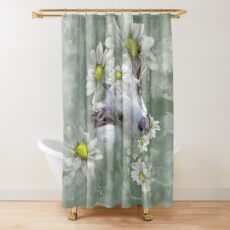 Don't Eat the Daisies Baby Goat Shower Curtain