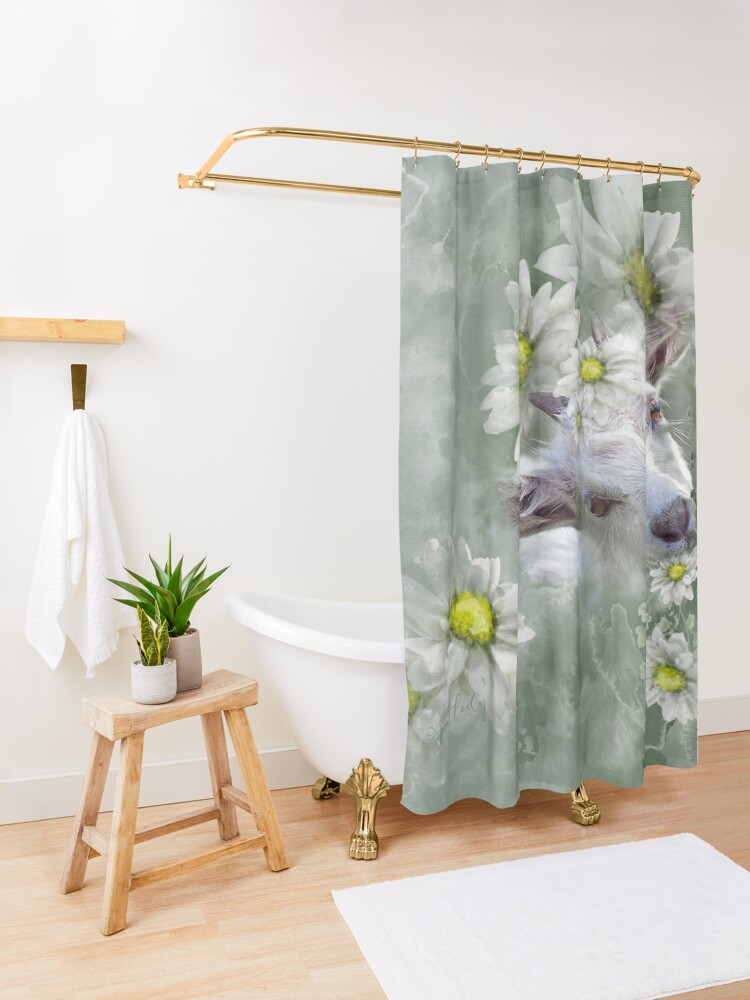 Alternate view of Don't Eat the Daisies Baby Goat Shower Curtain