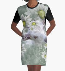 Don't Eat the Daisies Baby Goat Graphic T-Shirt Dress