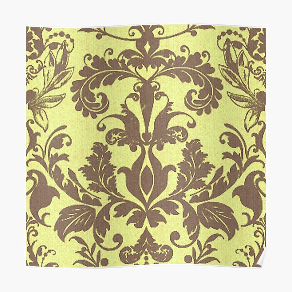 Banana Damask Royal Floral Pattern Silk Weaving Poster