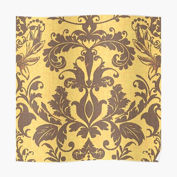 Nectarine Damask Royal Floral Pattern Silk Weaving Poster