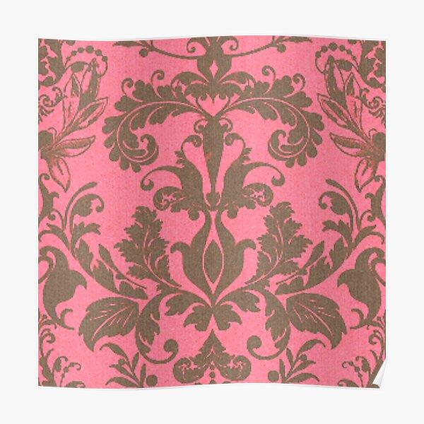Mango Damask Royal Floral Pattern Silk Weaving Poster