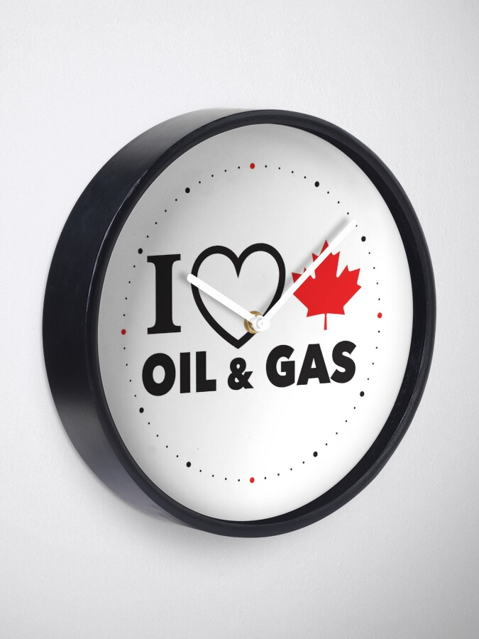 Alternate view of I Love Canadian Oil and Gas Red Heart and Maple Leaf Alberta Pipelines MCGA White background HD HIGH QUALITY ONLINE STORE Clock
