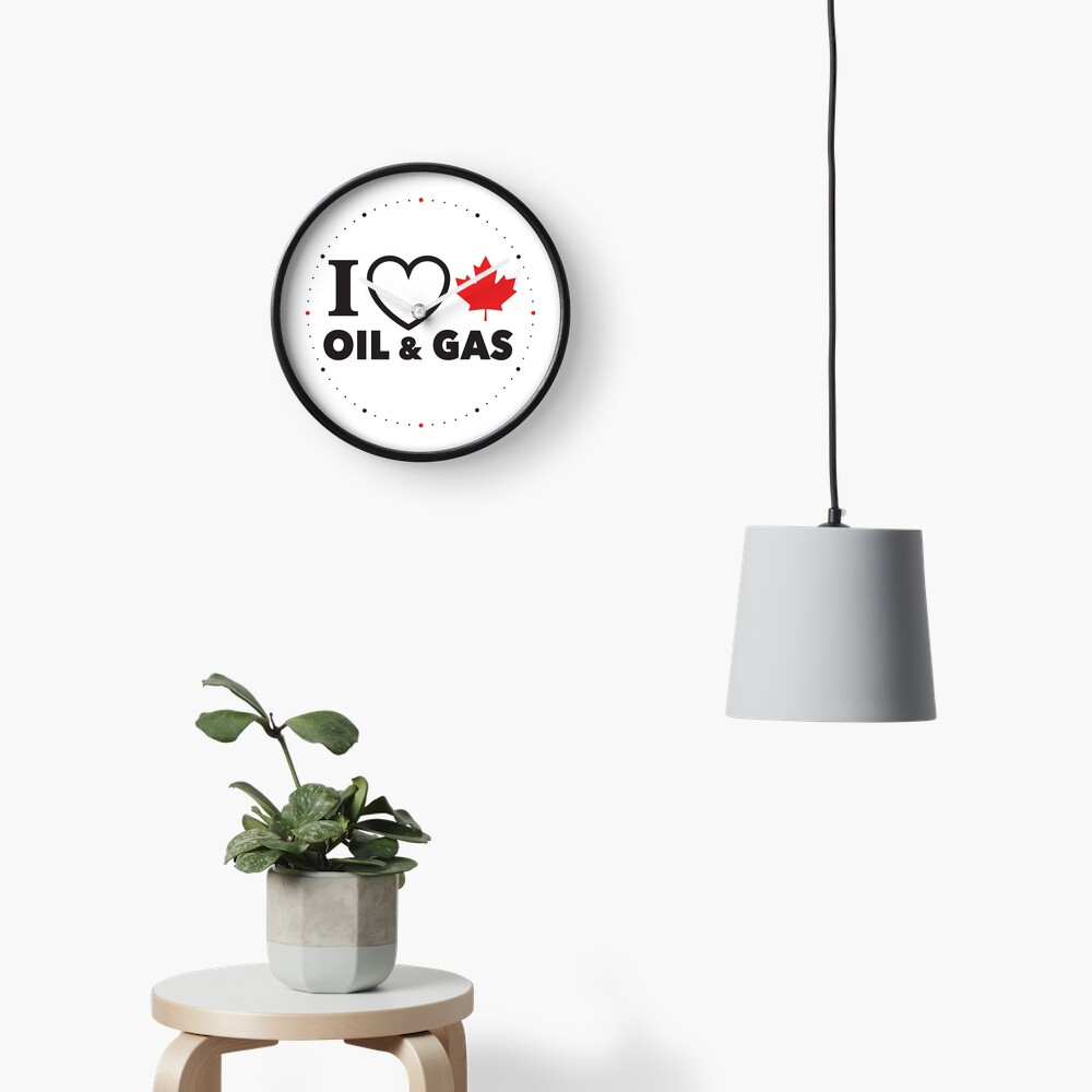 I Love Canadian Oil and Gas Red Heart and Maple Leaf Alberta Pipelines MCGA White background HD HIGH QUALITY ONLINE STORE Clock