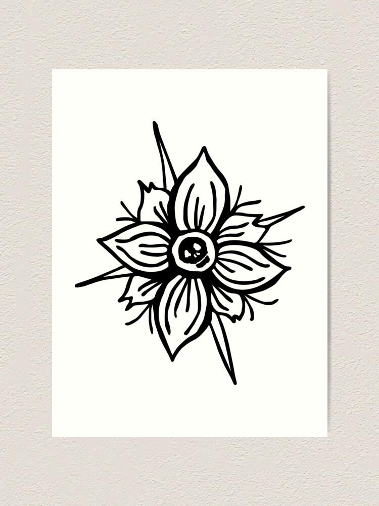 Alternate view of Flower Skull Art Print