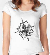 Flower Skull Fitted Scoop T-Shirt