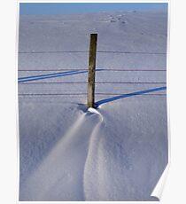 Snow drift & fence post Poster