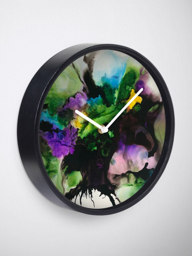 "Alternate view of Freeflowing Alcohol Ink artwork (purple and green) ""Mixed emotions"" Clock"