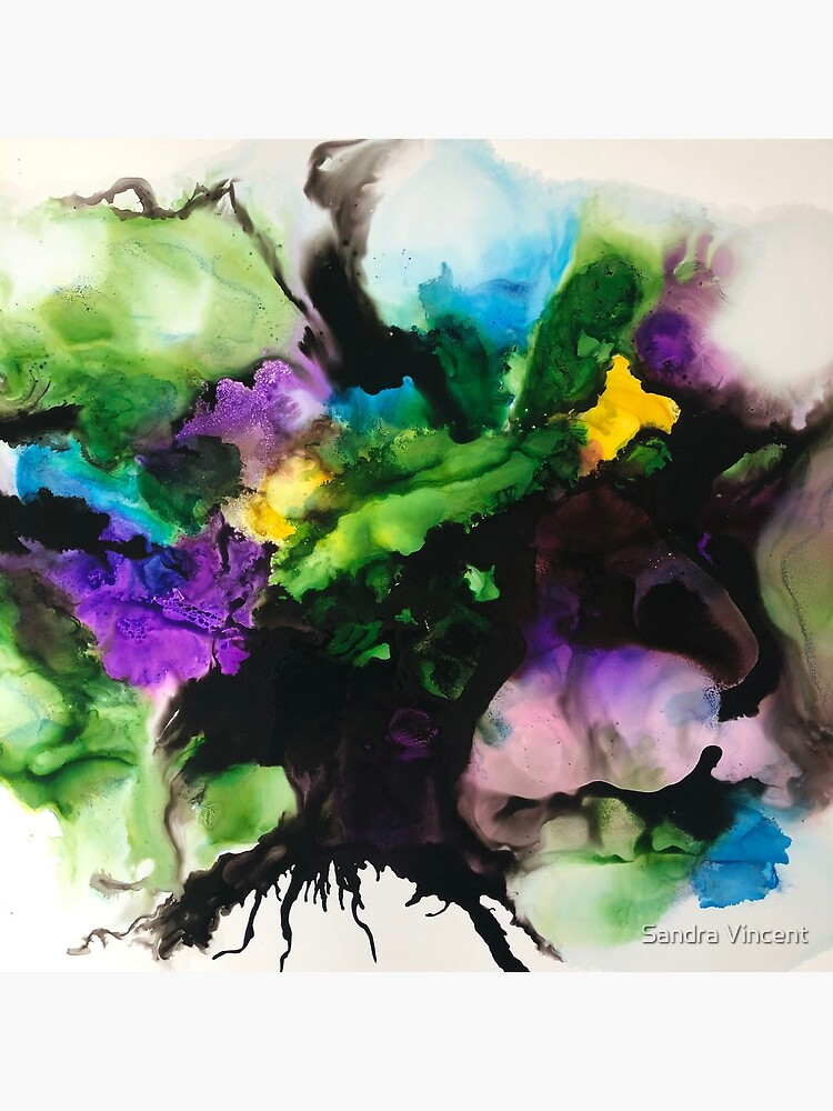 "Freeflowing Alcohol Ink artwork (purple and green) ""Mixed emotions"" by sandravincent"
