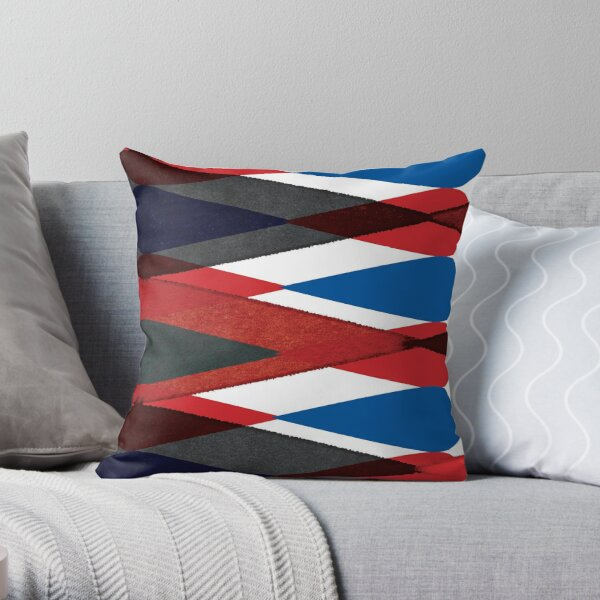 Retro Harlequin Pattern in Red, White, Blue and Black, perfect for throw pillows and cushions. Throw Pillow