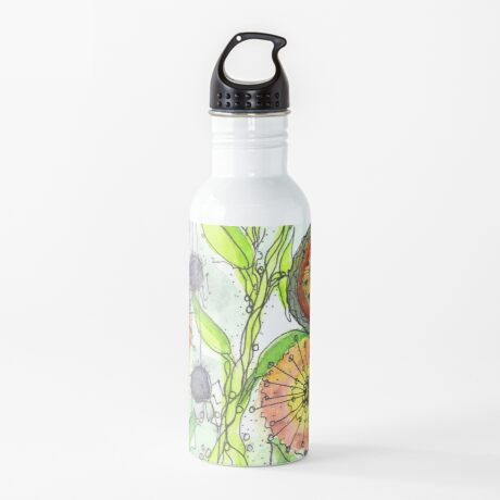 Autumn Flowers and Little Spiders Water Bottle
