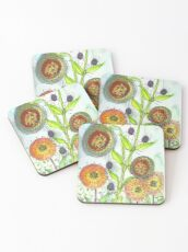 Autumn Flowers and Little Spiders Coasters