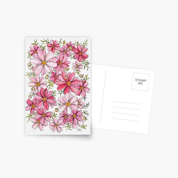 Pink Floral Pattern Postcard