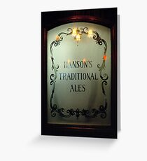 Etched glass door in Midland's pub, England, UK Greeting Card