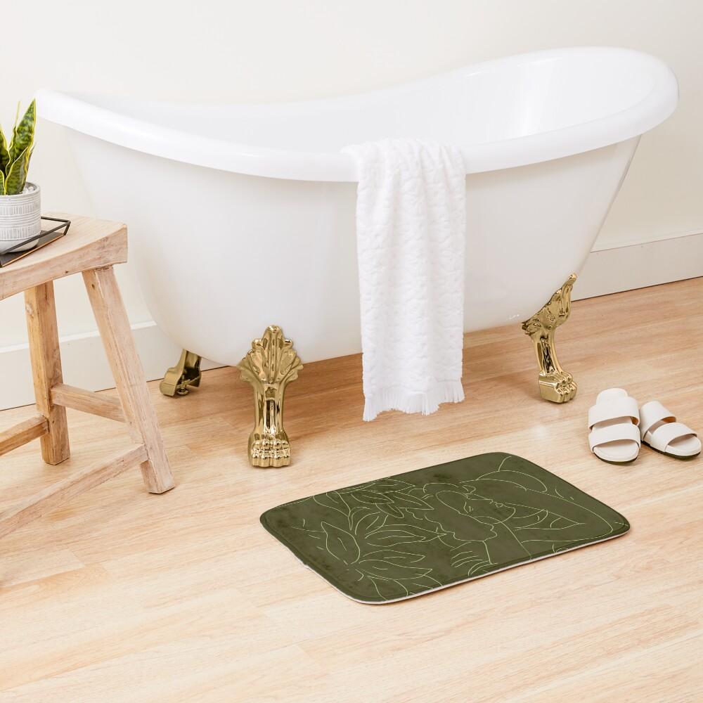 Matisse Line Art #5 Green Bath Mat
