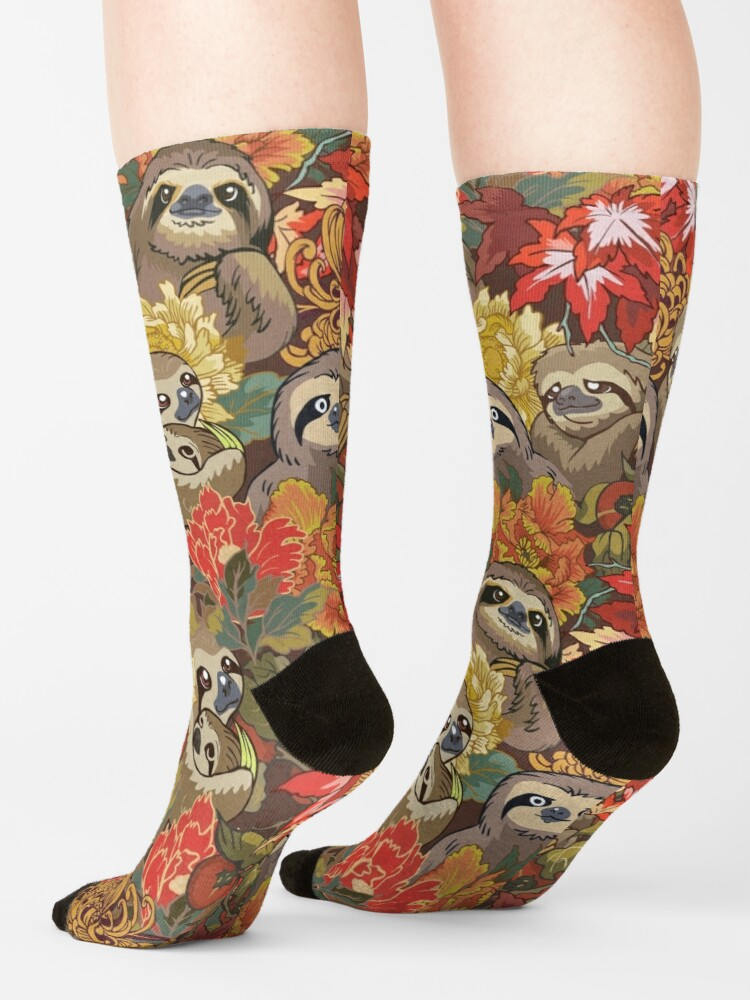 Alternate view of Because Sloths Autumn Socks