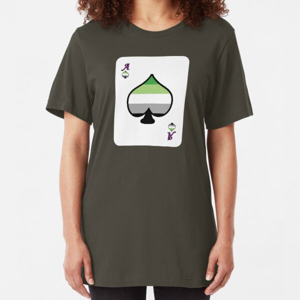 Ace Spectrum Playing Cards: Aromantic Slim Fit T-Shirt