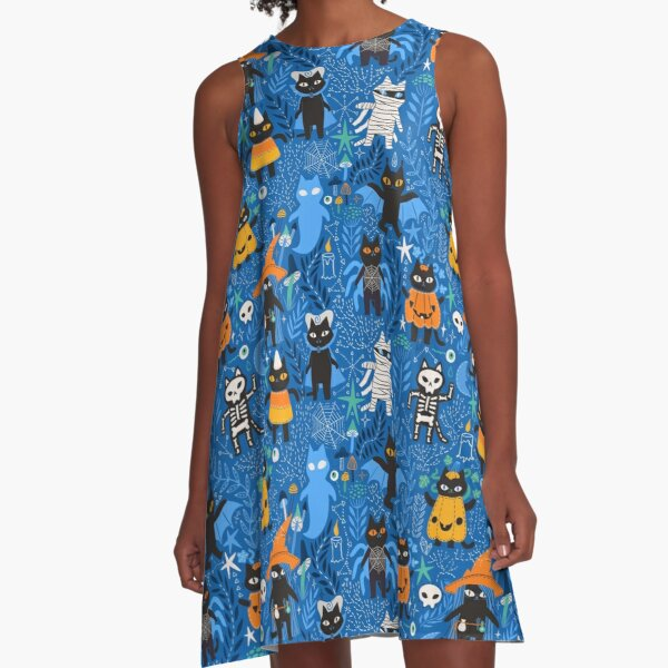 Spooky Halloween black cats. A-Line Dress