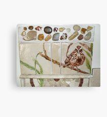 sparrow on a branch, on tile Canvas Print