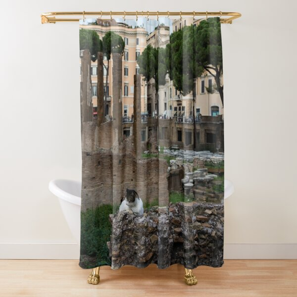 Oh So Rome - Cats, Umbrella Pines and Ancient Ruins Shower Curtain