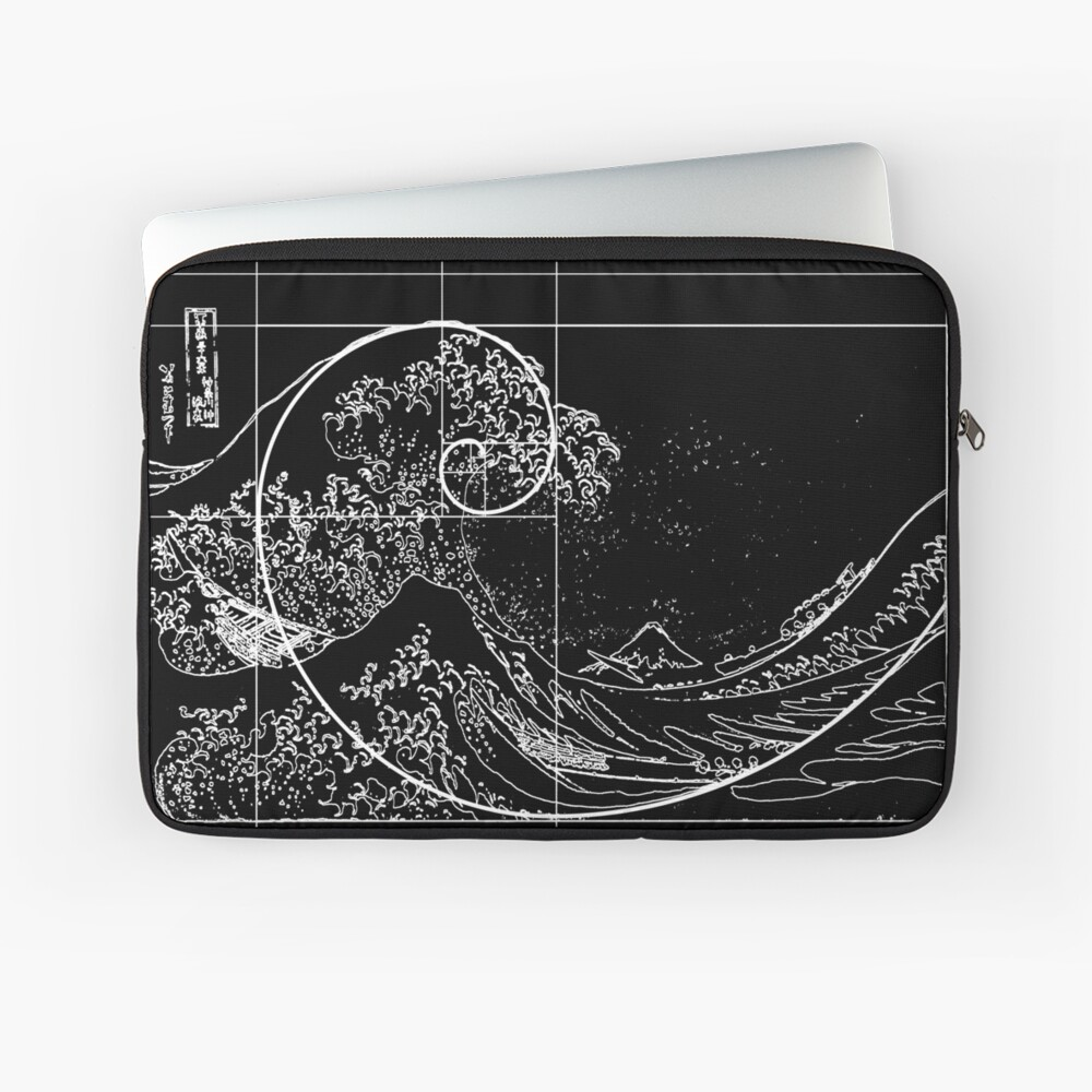 Hokusai Meets Fibonacci, Golden Ratio, White Line Laptop Sleeve