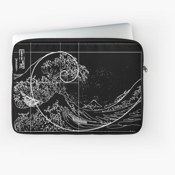 Hokusai Meets Fibonacci, Golden Ratio, White Line Laptop Sleeve