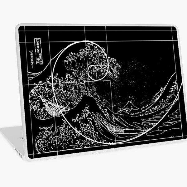 Hokusai Meets Fibonacci, Golden Ratio, White Line Laptop Skin