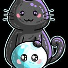 Kawaii Cute Black Cat and Skull by Fiona Reeves