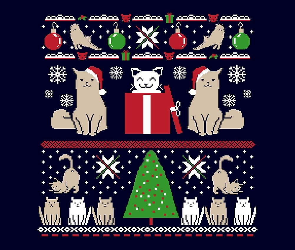 Little Kitty Cat Butts   Funny Christmas by Kittyworks