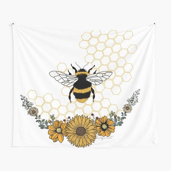 Sunflower Bee- Honey Comb Yellow Tapestry