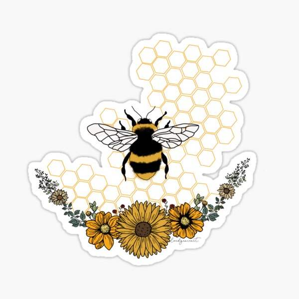Sunflower Bee- Honey Comb Yellow Sticker
