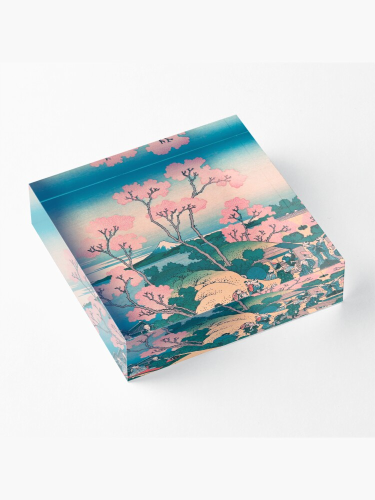 Alternate view of Spring Picnic under Cherry Tree Flowers, with Mount Fuji background Acrylic Block