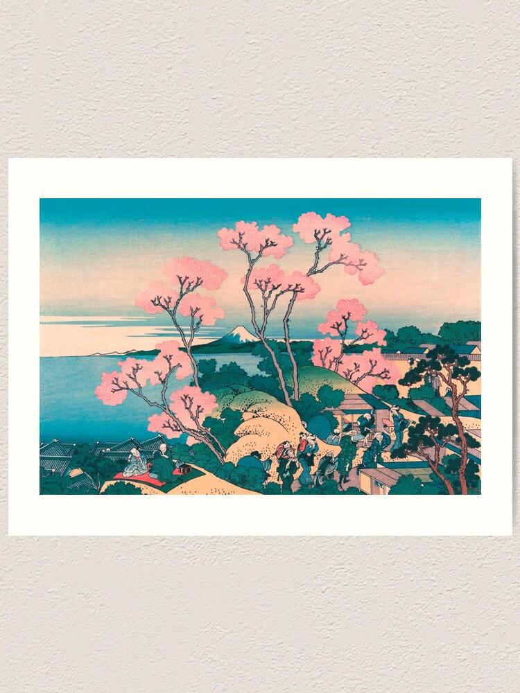 Vista alternativa de Lámina artística Picnic de primavera bajo las flores del cerezo, con el fondo del monte Fuji