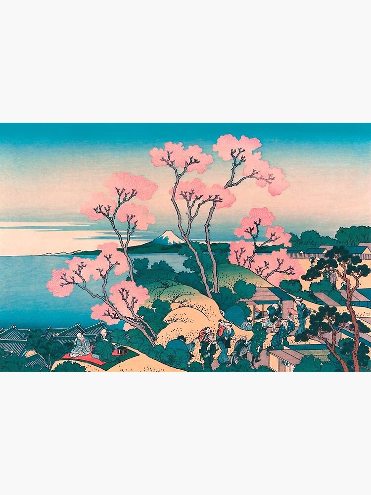Picnic de primavera bajo las flores del cerezo, con el fondo del monte Fuji de VintageArchive