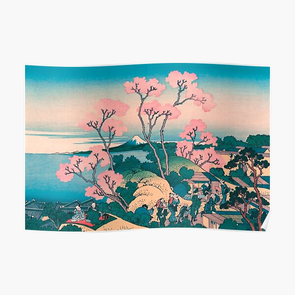 Spring Picnic under Cherry Tree Flowers, with Mount Fuji background Poster